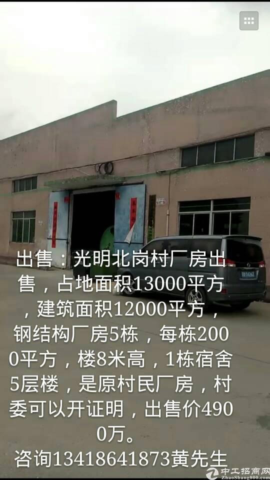 出售光明北岗村独门独院历史遗留厂房。适合自用投资
