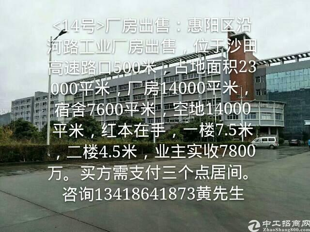 出售惠阳区大路边红本独门独院厂房。适合自用投资