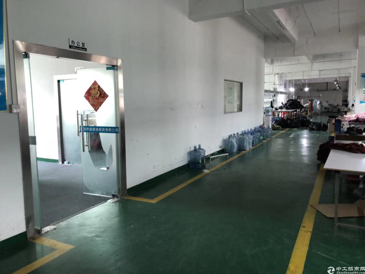 龙岗中心城附近二楼现成服装厂房1200平