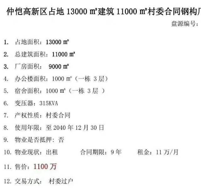 惠州仲恺区新出钢构厂房出售