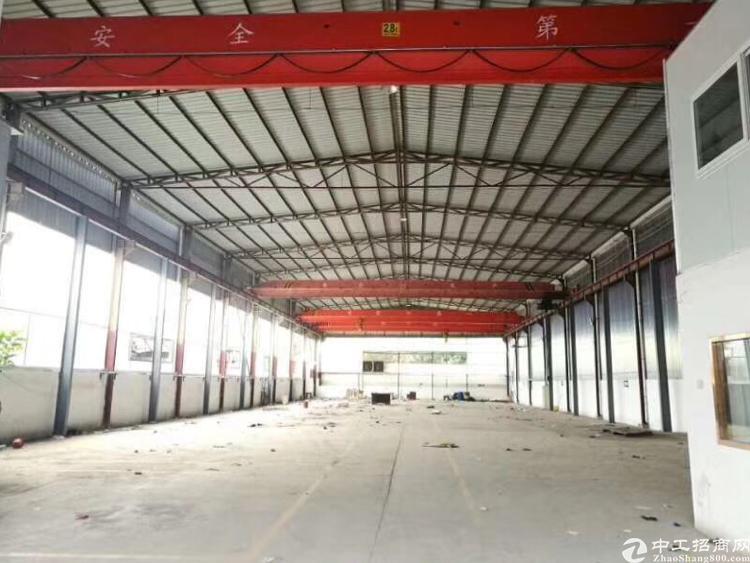 出租松岗双高速出口原房东十米高钢构厂房2200平带多部行车免