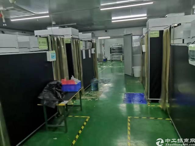沙井南环路边上楼上厂房1000平,现成无尘车间,办公室