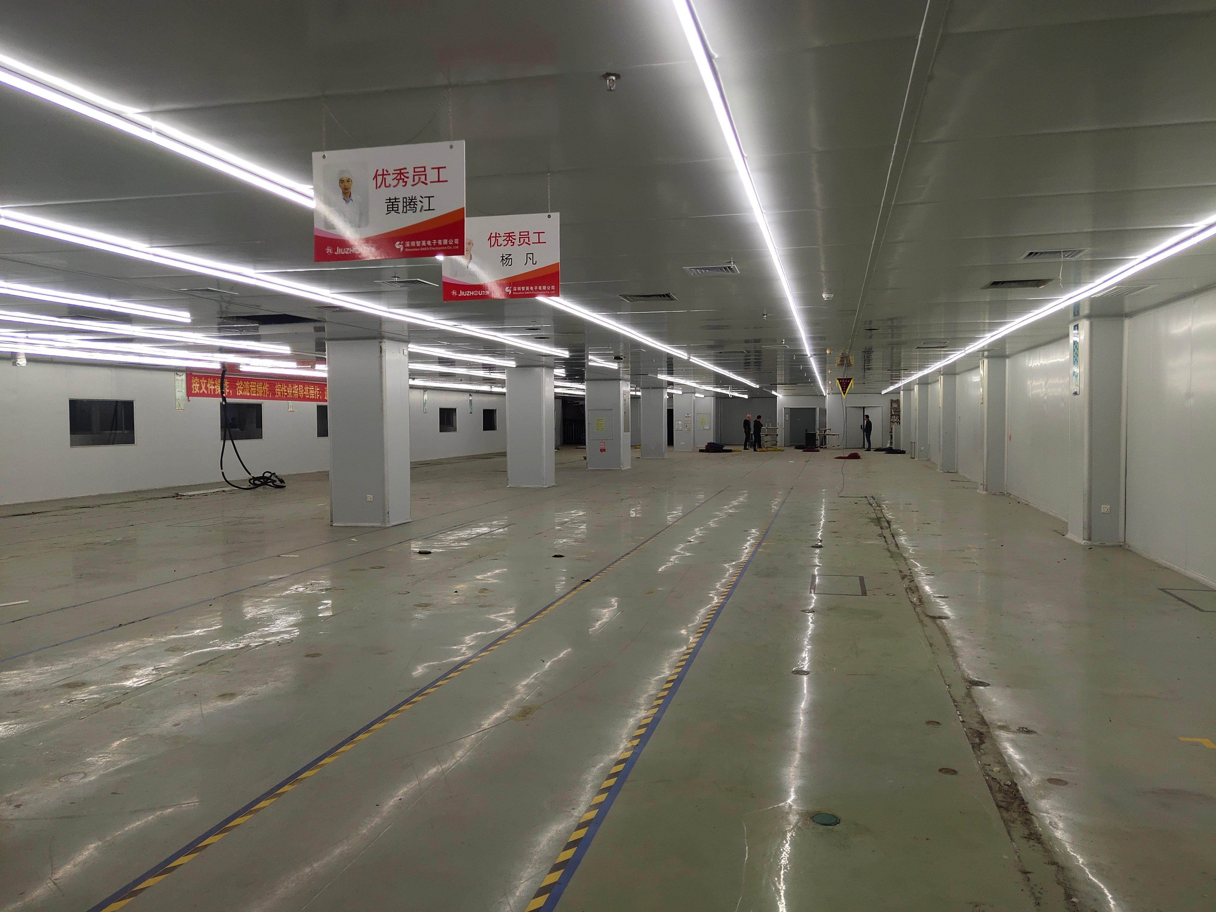 福永镇靠近沙井楼上1500平米无尘车间出租!