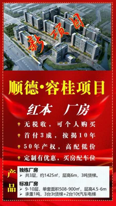 佛山市顺德区容桂镇,全新标准厂房出售,独立产权,灵活分组